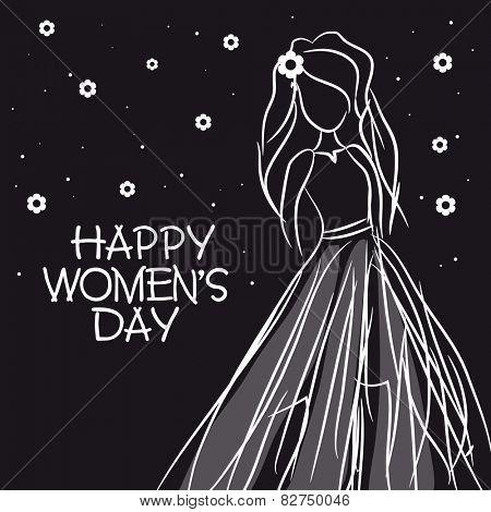 International Women's Day celebration with illustration of a young girl on stylish black background.