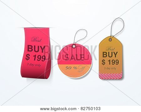 Elegant glossy sale and discount offer tags or labels for International Women's Day celebration.