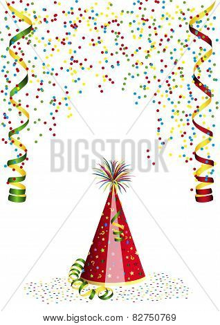 Carnival decoration with confetti and carnival hat
