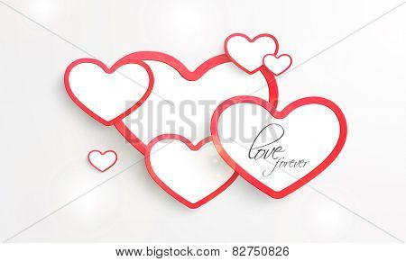Beautiful pink heart shaped sticky designs with text Love Forever on shiny grey background.