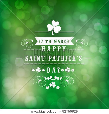 Beautiful greeting card design for Happy St. Patrick's Day celebration on shiny green background.