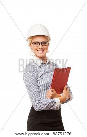 Woman construction worker with hard hat on white background
