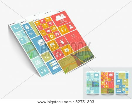 Web user interface design with different features and multiple color choice on grey background.