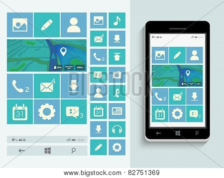 Mobile user interface design with web icons, musical icons, social media icons and smart phone presentation on blue background.