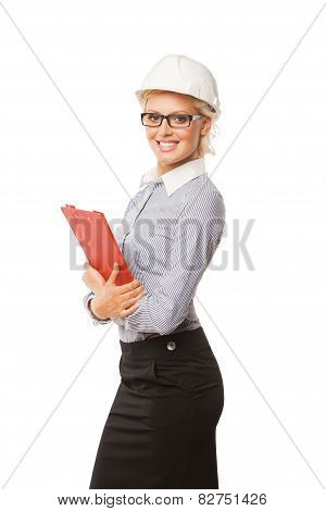 Young smiling woman construction worker with hard hat on white