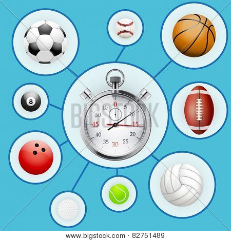 Realistic Sport balls and stopwatch with markers.