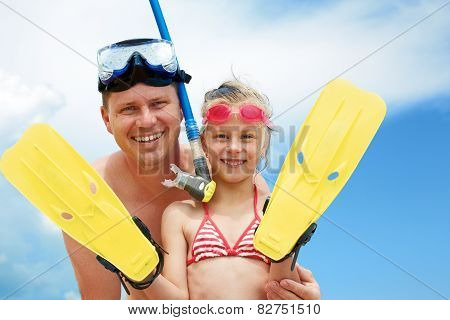 Beach Travel Family Having Fun Snorkeling