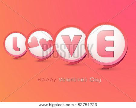 Happy Valentine's Day celebration with stylish text Love and hearts on colorful background.