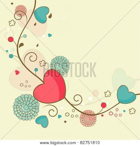 Happy Valentine's Day celebration greeting card decorated by flowers and hearts.
