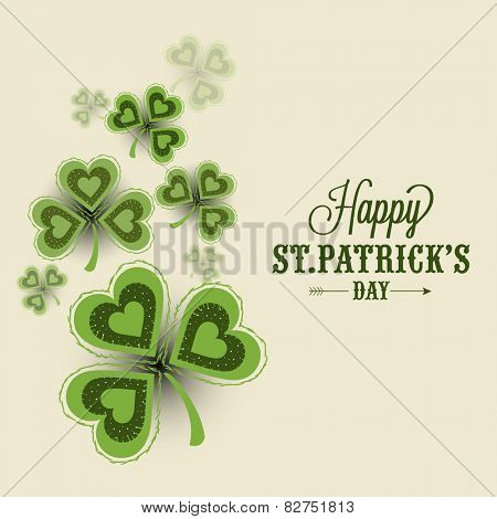 Elegant greeting card design decorated with creative shamrock leaves for Happy St. Patrick's Day celebration.