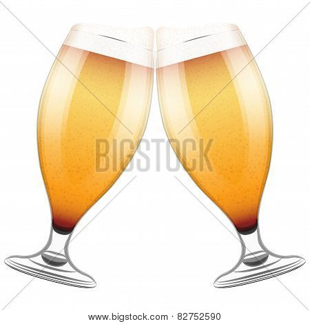 Two beer glasses clink. Vector Illustration