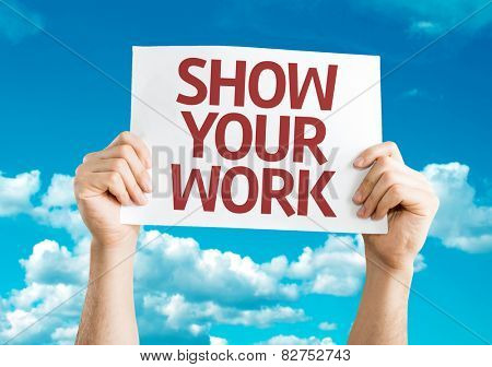 Show Your Work card with sky background