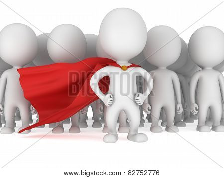 Brave Superhero With Red Cloak Before A Crowd