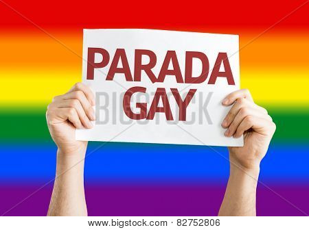 Gay Pride Parade (in Portuguese) card with Rainbow flag background