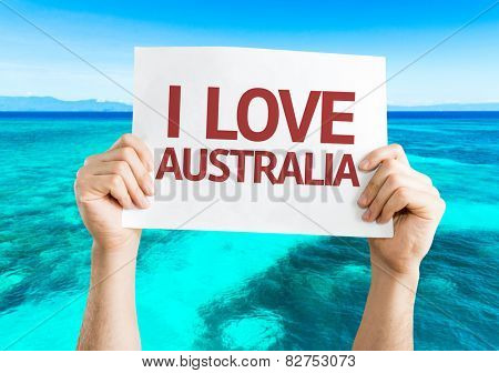 I Love Australia card with beach background
