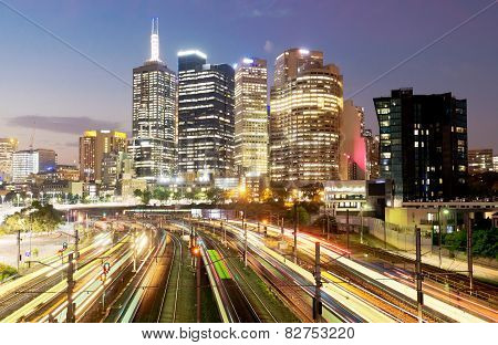 Railway in Melbourne at night