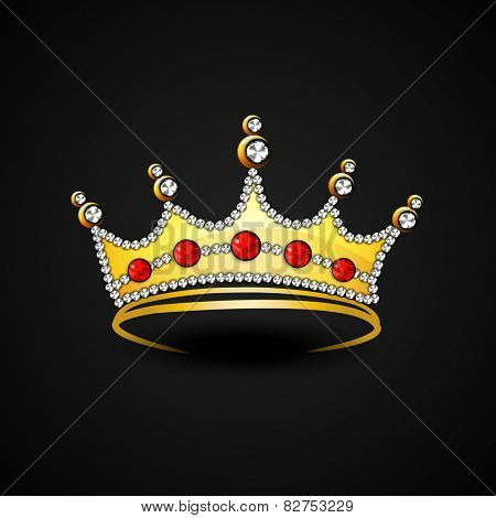 Stylish gold crown decorated with diamonds on black background.