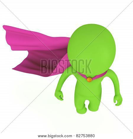 3D Brave Superhero With Purple Cloak Levitate Above