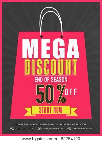 End of season sale flyer, banner or template design with mega discount.
