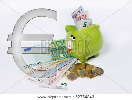Piggy Bank With Euro Symbol And Euro Coin And Bill