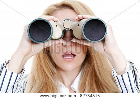 Surprised Girl Using Binoculars