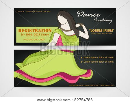 Dance academy header with illustration of dancing young girl.