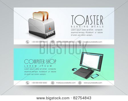 Website header or banner set for computer shop and home appliance toaster.