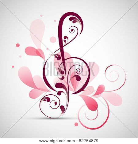 Floral decorated musical sign on stylish grey background.