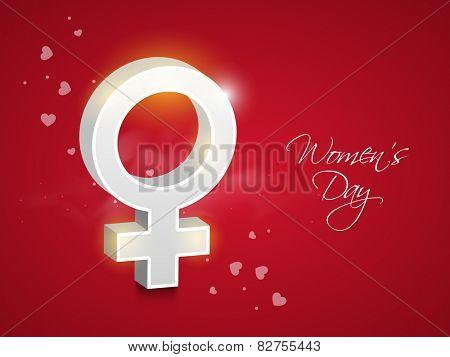 3D glossy female symbol on red background for International Women's Day celebration.