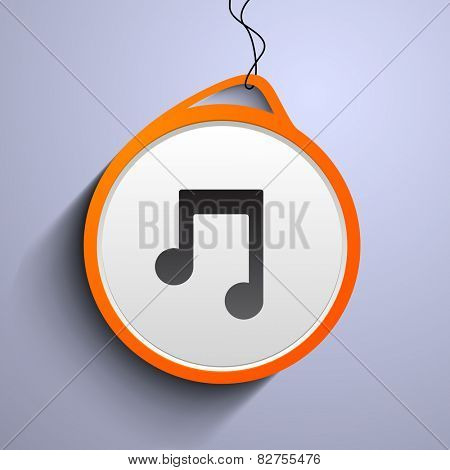 Hanging musical notes icon on stylish background.