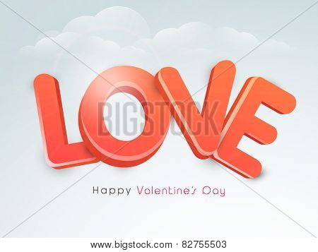 3D glossy red text Love for Happy Valentine's Day celebration on cloudy sky background.