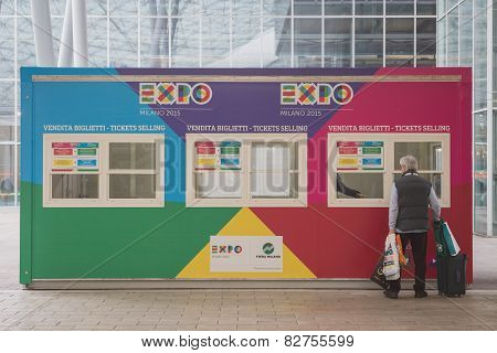 Expo Tickets Selling Booth At Bit 2015, International Tourism Exchange In Milan, Italy