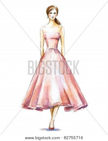 Watercolor fashion illustration, girl in a dress. Vector illustration.