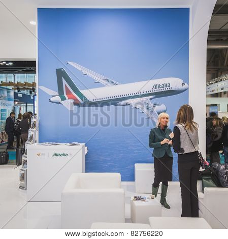Alitalia Stand At Bit 2015, International Tourism Exchange In Milan, Italy