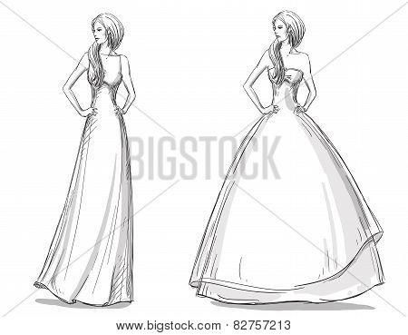 Fashion hand drawn illustration. Vector sketch. Long dress. Bride.