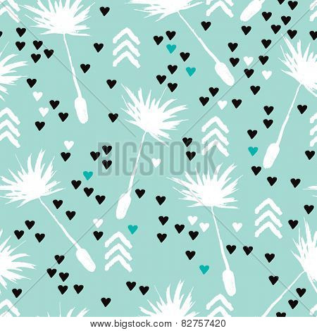 Seamless geometric spring flower poppy grass dandelion hearts and arrow illustration background pattern in vector