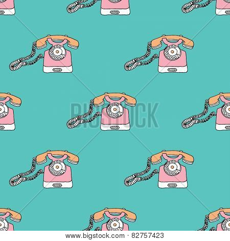 Seamless retro colorful telephone vintage objects series illustration background pattern in vector