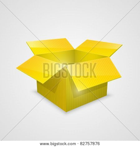 Color vector open box. yellow