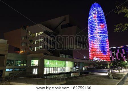 Torre Agbar Illuminated Skyscraper, Barcelona, Spain