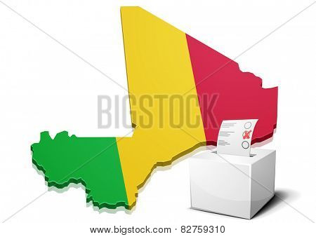 detailed illustration of a ballotbox in front of a map of Mali, eps10 vector