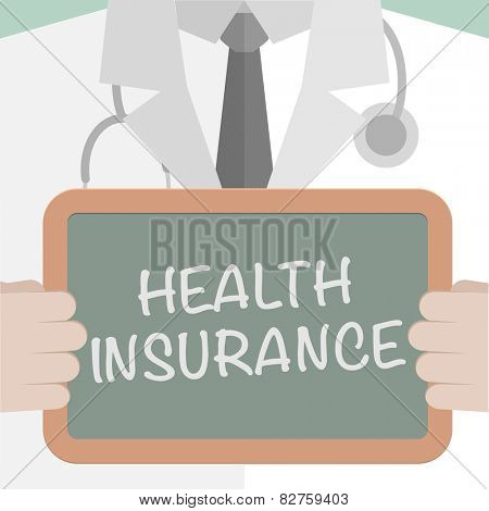 minimalistic illustration of a doctor holding a blackboard with Health Insurance text, eps10 vector