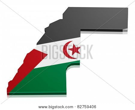 detailed illustration of a map of Western Sahara with flag, eps10 vector
