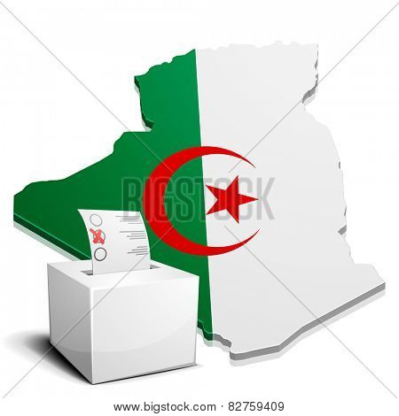 detailed illustration of a ballotbox in front of a map of Algeria, eps10 vector