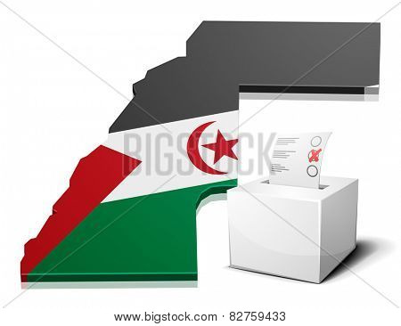 detailed illustration of a ballotbox in front of a map of Western Sahara, eps10 vector