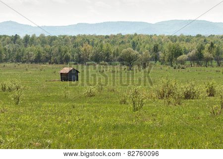 Wooden House On The Green Field