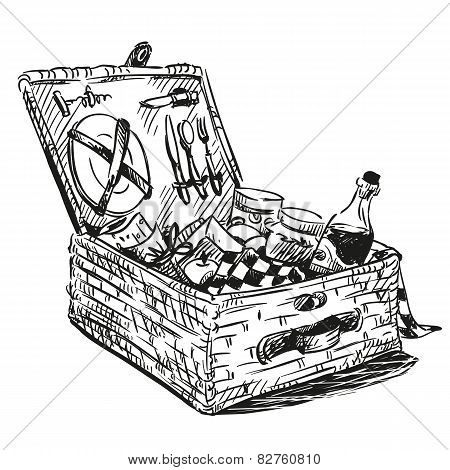 Picnic basket with snack. Hand drawn.