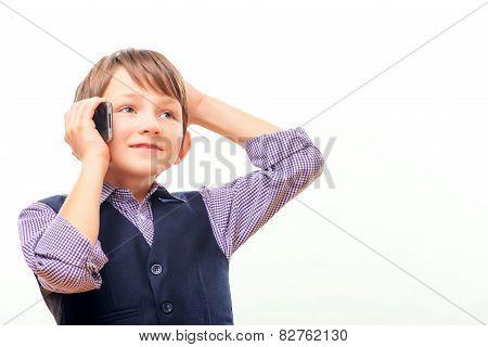 Cute schoolchild in suit shouting