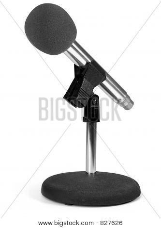 modern microphone on white