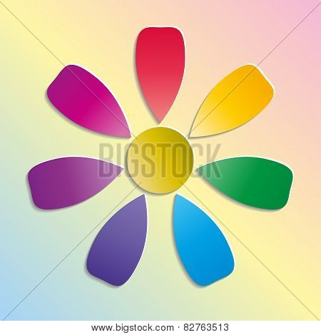 Paper colorful flower on background with pastel colors