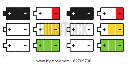 Set Of 12 Isolated Battery Icons